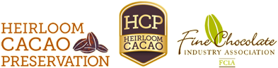 Association logos for Heirloom Cocao Preservation and Fine Chocolate Industry Association