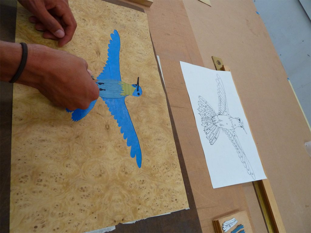 marquetry layout and assembly