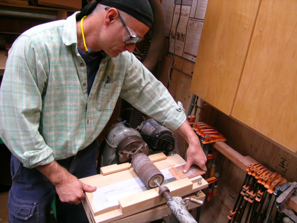Using my wood Lathe with a drum sanding jig, I can thickness metal
