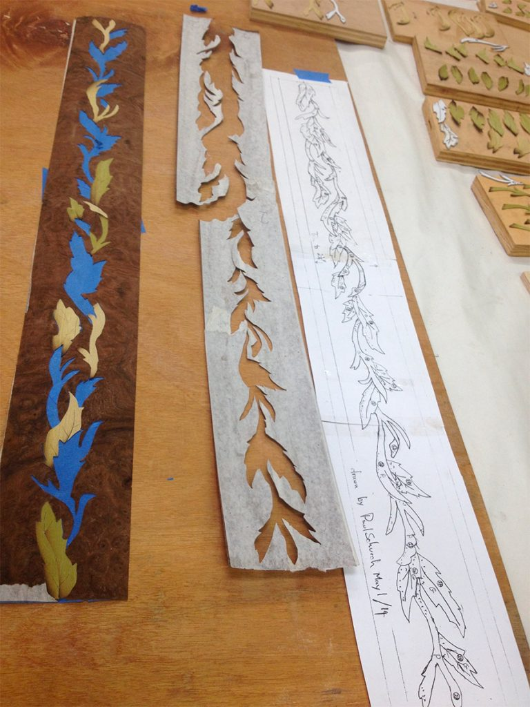 Drawing of cartoon cutting pattern, assembling with blue and gum tape
