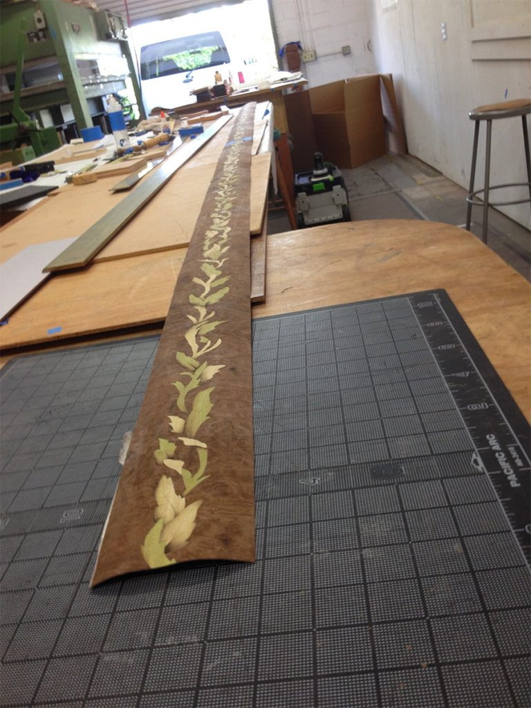 Running marquetry all joined and ready to glue to the piano