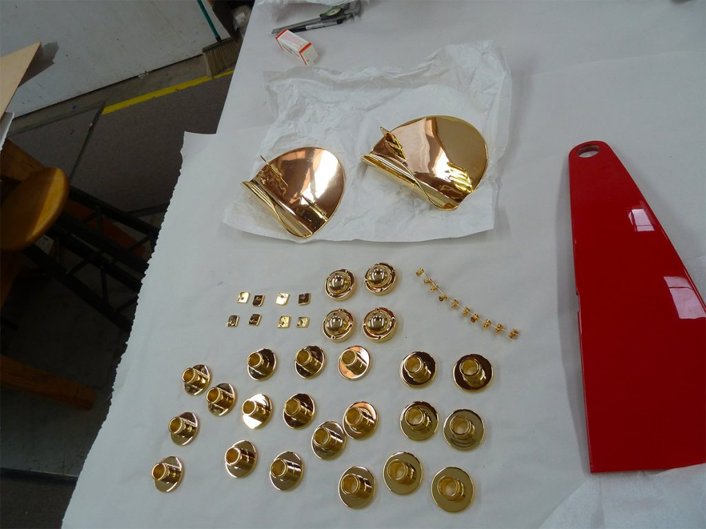 Steel is first polished, silver-plated, then 18K gold plated