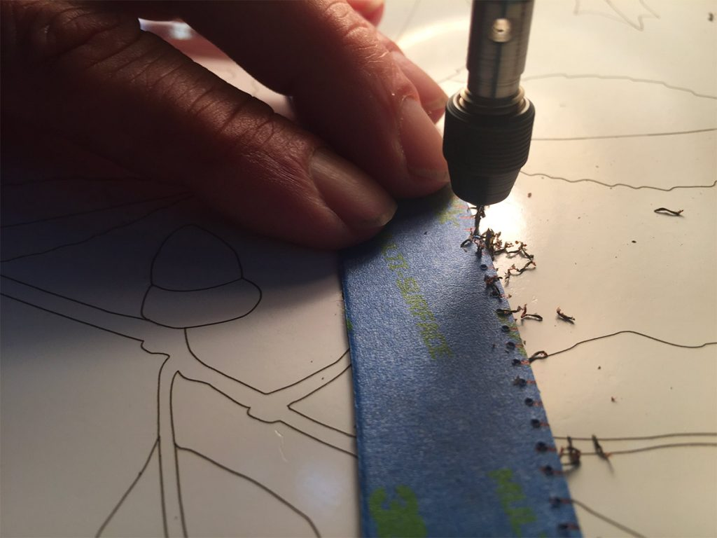 Drilling spaced holes for the thread