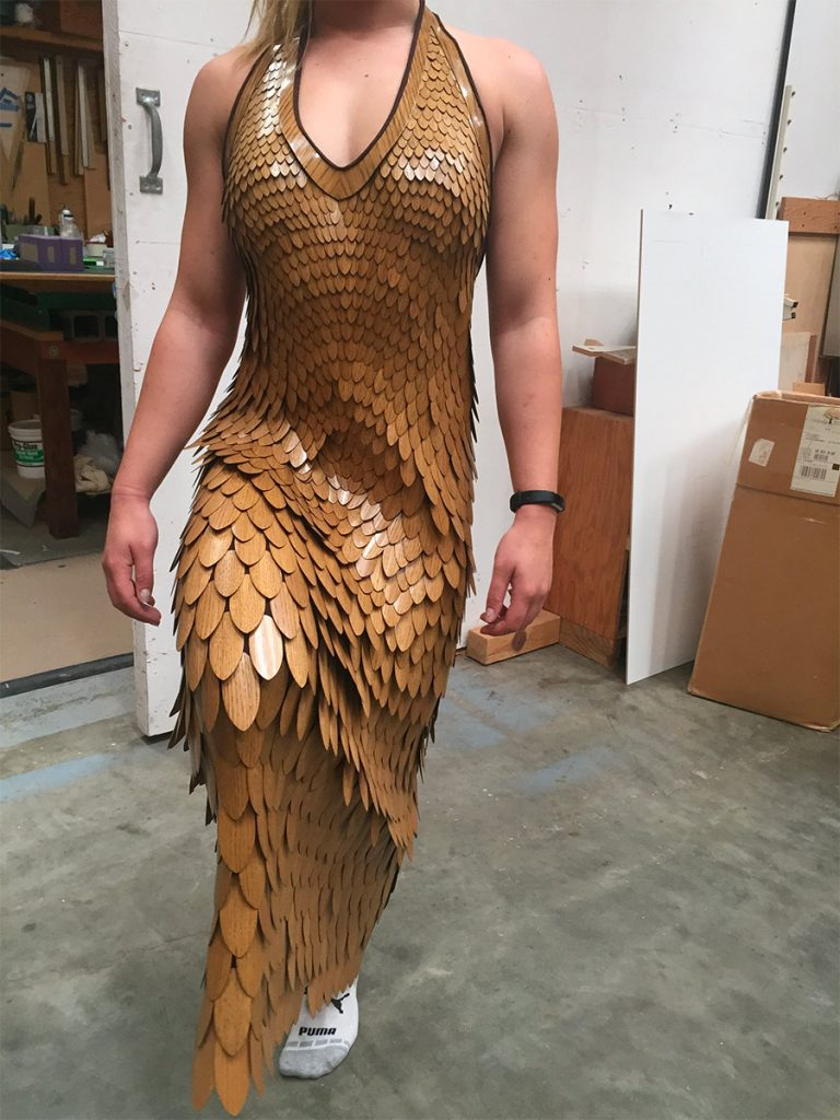 moving in a wooden dress